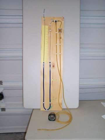 Manometer Guage Built for Airspeed Calibrations
